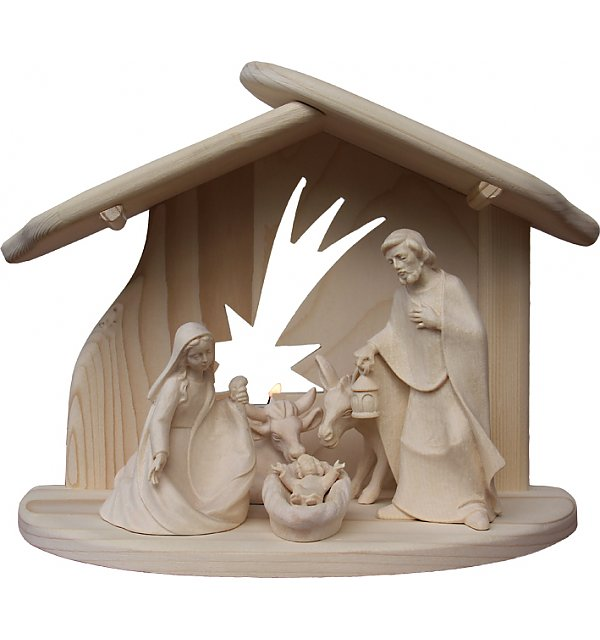 8091 - Holy Family with Stable star Donkey Ox NATUR